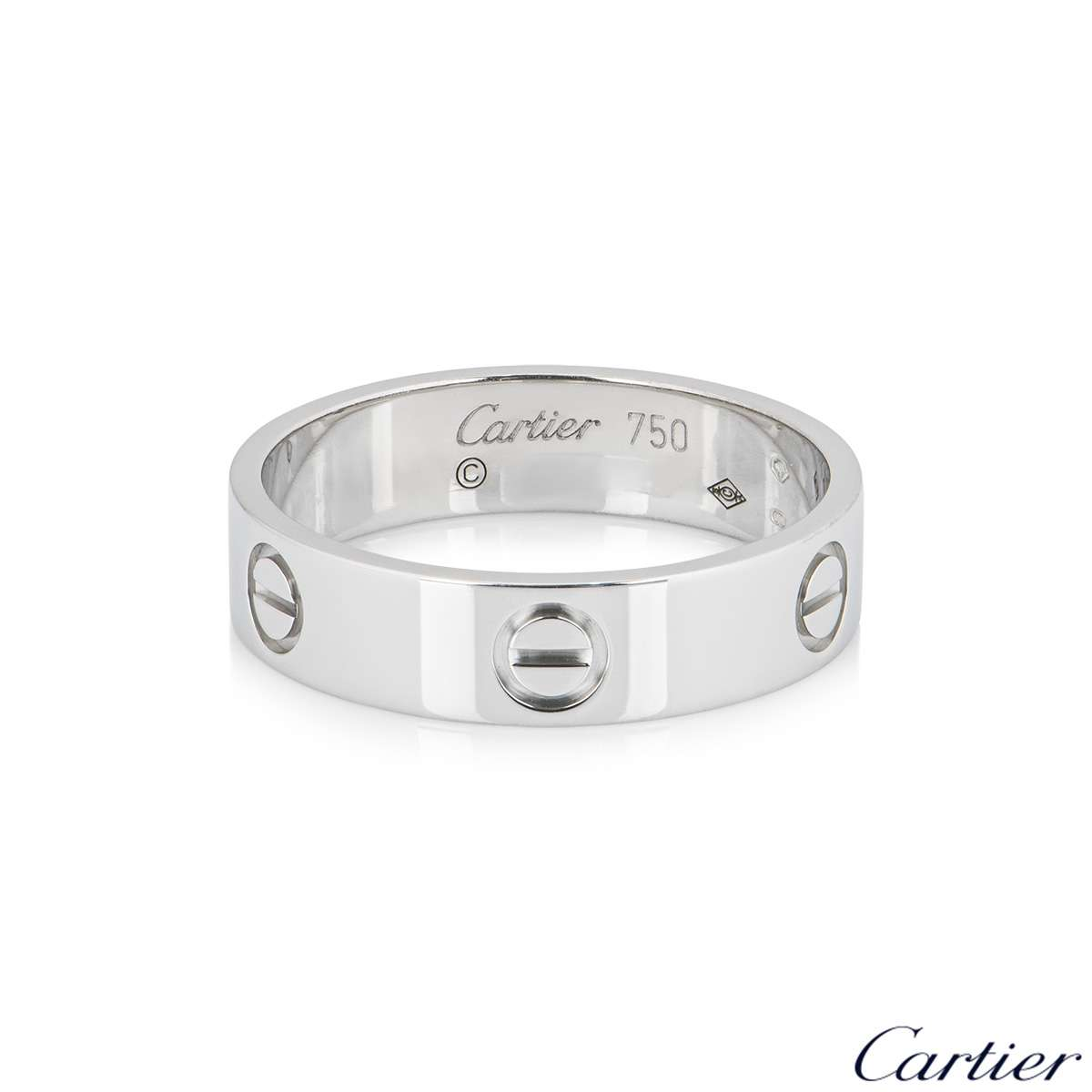 Cartier White Gold Plain Love Ring Size 54 B4084700